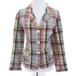 Rare Talbots Madras Plaid Blazer Jacket Sz 12